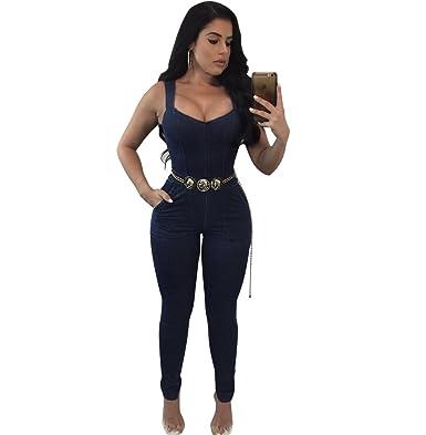 f31775f51c9e Amazon.com  vnytop Women Sexy Plus Size Distressed Denim V-Neck Sleeveless  Zipper Pockets Jumpsuit  Clothing