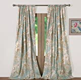 Window Treatments Tab Top Curtains Panels Lined Chic Cottage Style Garden Flowers Leaves Birds Butterflies Print Pattern Spa Green Taupe 84 Inch Length Long Pair Set of 2 - Includes Bed Sheet Straps