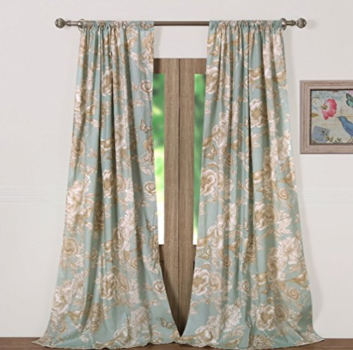 Window Treatments Tab Top Curtains Panels Lined Chic Cottage Style Garden Flowers Leaves Birds Butterflies Print Pattern Spa Green Taupe 84 Inch Length Long Pair Set of 2 - Includes Bed Sheet Straps - Printed Tab Top Curtains