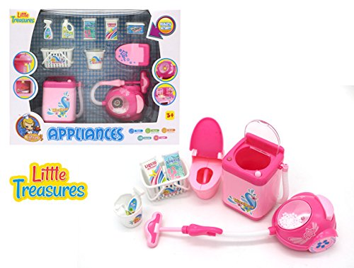 Little Treasures unique household Appliances machines for Little Helpers a vacuum cleaner, washing machine and clothes dryer with accessory items for preschooler girls, sound and light features