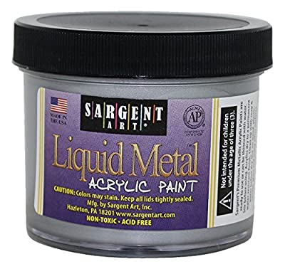 Sargent Art 22-1282 4-Ounce Liquid Metal Acrylic Paint, Silver