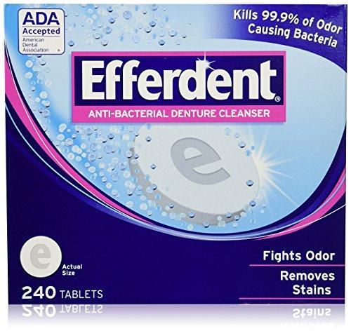 Antibacterial Denture Cleanser Tablets - Efferdent Anti-bacterial Denture Cleanser, 2-Pack