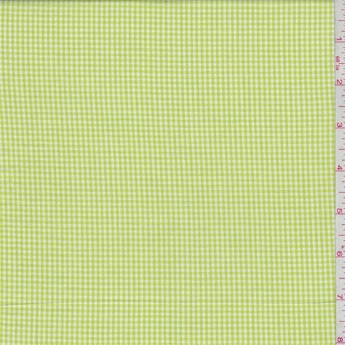 Bright Lime Gingham Check Cotton Shirting, Fabric by The Yard ()