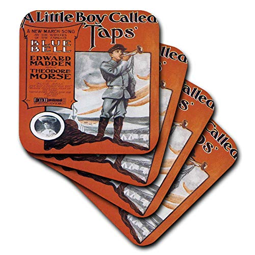 (3dRose BLN Vintage Song Sheet Covers - A Little Boy Called Taps March Song Sheet Cover with Young Man Playing Taps - set of 8 Coasters - Soft)