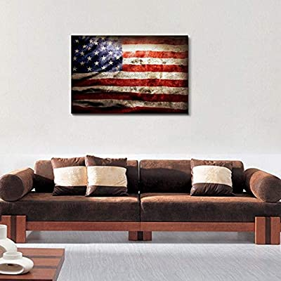 Closeup of Grunge American Flag Vintage Retro Style...12