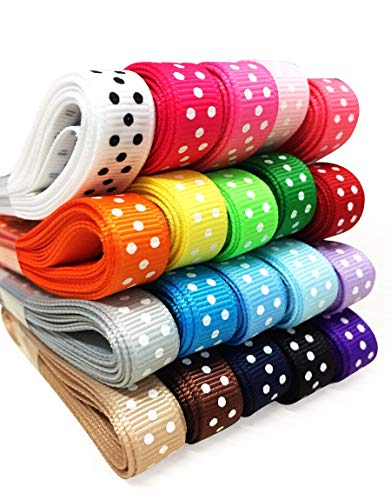 YAMA Polka Dot Grosgrain Ribbons Set - 3/8'' 40 Yards Ribbon Wrapping, Hair Bow Accessories DIY, 20x2yd Swiss Dot Fabric Ribbon