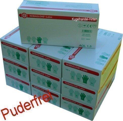 Nobaglove Guantes De Latex Lisos Talla Medio Sin polvo 1000 Pedazos (10 x 100 Pieza) Noba Verbandmittel