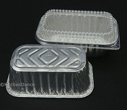 Disposable Aluminum 1 lb. Mini Loaf Pans with Clear Dome Lids- Pack of 20 pans & 20 Lids