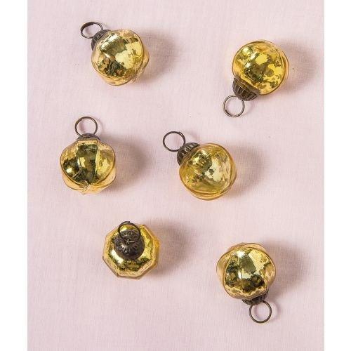 Luna Bazaar Mini Mercury Glass Ornaments (Pearl Design, 1-Inch, Gold, Set of 6) - Vintage-Style Decorations