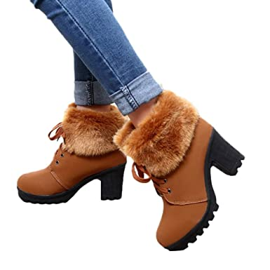 36d367cb9285 Amazon.com  Lurryly❤Women s Fashion Winter Warm Snow Boots Ankle Boot  Classic Bootie Shoes  Clothing