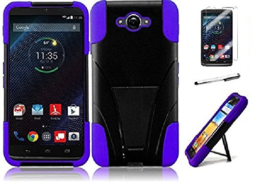 (Motorola Droid Turbo XT1254 ( Verizon ), Luckiefind New Premium Hybrid Dual Layer Case With Stand, Stylus Pen & Screen Protector Accessory (Stand Purple))