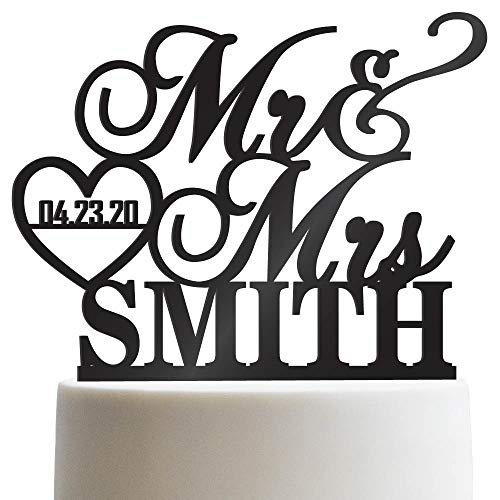 Personalized Wedding Cake Topper Mr Mrs Heart Customized Wedding Date And Last Name To Be Bride & Groom | Solid Color Cake -