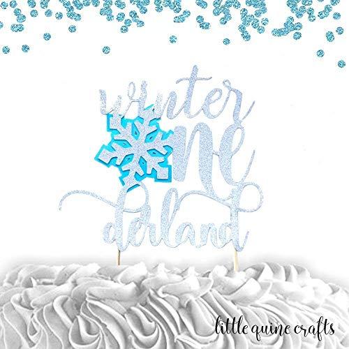 1 pc Winter Onederland Snowflake silver glitter baby blue cake topper for cake smash first birthday winter wonderland -