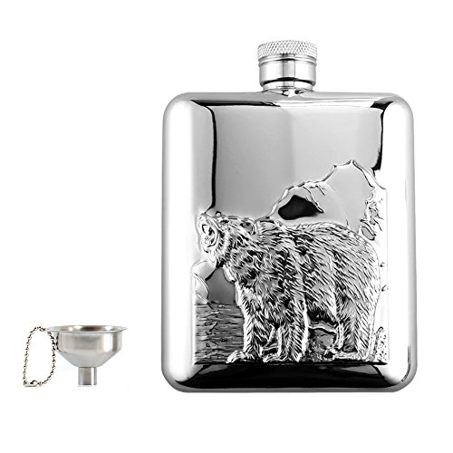 (Portable 6 OZ Hip Flask & Funnel Set with Gift Box,18/8 304 Food Grade Stainless Steel Hip Flask,Pocket Flagon,Camping Wine Pot,Great Gift for Men or Women by Quality Life Designer (Silver(Bear)))