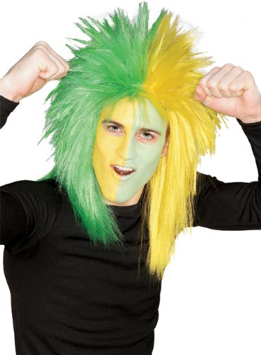 Rubie's Costume Green and Yellow Sports Fan Wig, Green/Yellow, One Size - Football Related Costumes