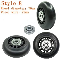 1 Pair Luggage Suitcase Replacement Rubber Wheels (Style 8, 76mmx22mm)