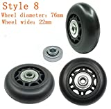 Yaphetss 1 Pair Luggage Suitcase Replacement Rubber Wheels (Style 8, 76mmx22mm)