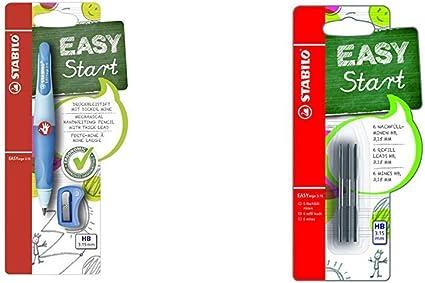 Portaminas ergonómico STABILO EASYergo START Cuerpo azul Modelo para DIESTROS + Minas para STABILO EASYergo START Pack con 6 minas: Amazon.es: Oficina y papelería
