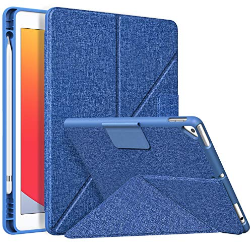MoKo Case Fit iPad 8th Generation 2020/iPad 7th Gen 10.2-inch 2019/Air 3 10.5 2019, Origami Standing Shell Case with Pencil Holder, Multi Angle Magnetic TPU Back Cover Fit iPad 10.2 Inch, Denim Blue