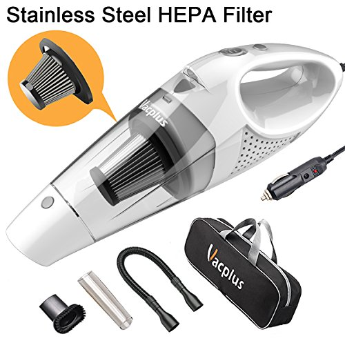 Vacplus Car Vacuum Cleaner, DC 12 Volt Portable Handheld Vacuum Cleaner for Car of 5.0 KPa Suction with LED Light, Stainless Steel HEPA Filter, 16.4ft Cable for Wet & Dry Use – White