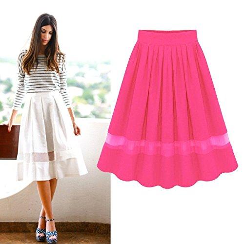 [Fashion Women Chiffon Vintage High Waist Plain Skater Flared Pleated Skirt Dress(Color Rose)] (1970s Tennis Costume)