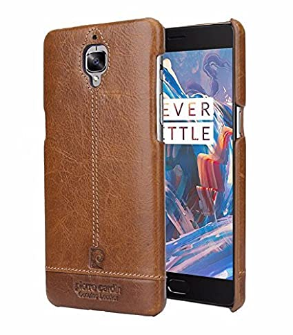 pretty nice de399 87e5f Pierre Cardin Leather back Cover For oneplus 3t (1+3) (Brown) by jazz