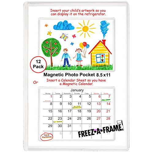 12 Pack 8.5 X 11 Magnetic Picture Frame Use for 8 X 10 Photo, Children's Artwork Frame, Magnetic Calendar Plastic Refrigerator Insert Holder Sleeve Pocket by Freez-a-Frame Made in the USA