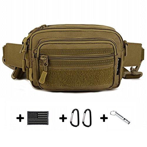 HYOUSANN Utility Waist Pack 4-Way Pouch Bag Molle Handbag Money Belt brown (Bag Patch Utility)