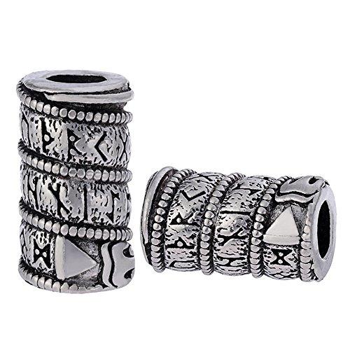 MYAROMA FINDINGS 5pcs Vikings Dragon Runes Beads Charm for Bracelet Pendant Necklace Making (S) (Soa Jewelry)