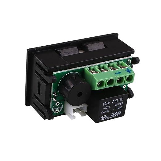 Tiptiper Controlador de temperatura digital, controlador de temperatura de relé de termostato digital inteligente 12V 20A de DC con sensor: Amazon.es: ...