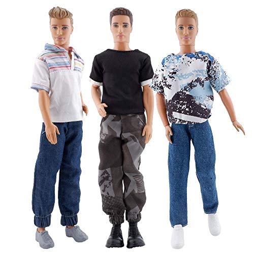 E-TING 3 Sets Doll Casual Wear Clothes Overalls Jacket Pants Outfits with 3 Pair Shoes for 12 Inches boy Dolls