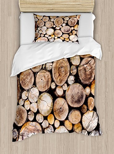 Ambesonne Rustic Duvet Cover Set, Wooden Logs Background Circular Shaped Oak Tree Life and Growth Theme Print, Decorative 2 Piece Bedding Set with 1 Pillow Sham, Twin Size, Sand Brown