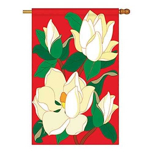 Breeze Decor Two Group H104041-P2 Magnolia Spring Floral Applique Decorative Vertical 28