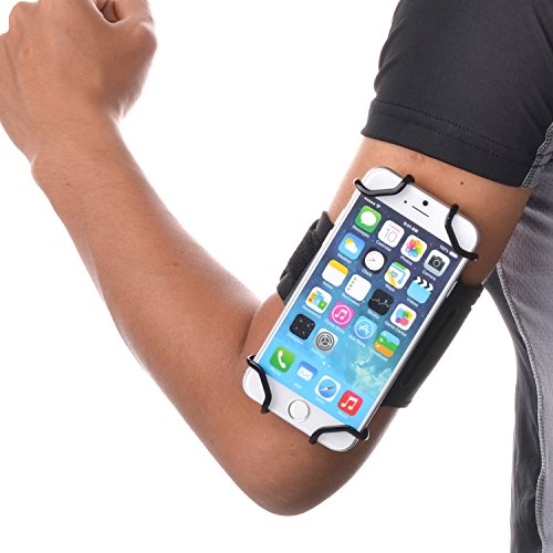TFY Sport Armband + Key Holder for 4 to 5.5 Inch Cell Phone - iPhone 8 / iPhone 6 (Plus) -iPhone 6 / 6s / 7 - iPhone SE - Samsung Galaxy S4/ S5 / S7 / Note 2 and More - (Black & Black Belt)