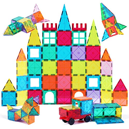 Jasonwell 65 PCS Magnetic Tiles Building Blocks Set for Boys Girls Preschool Educational Construction Kit Magnet Stacking Toys for Kids Toddlers Children 3 4 5 6 7 8 Year Old from Jasonwell