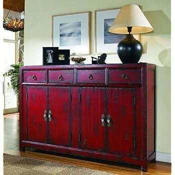 Amazing Hooker Furniture 58u0027u0027 Red Asian Cabinet, Hand Painted ...