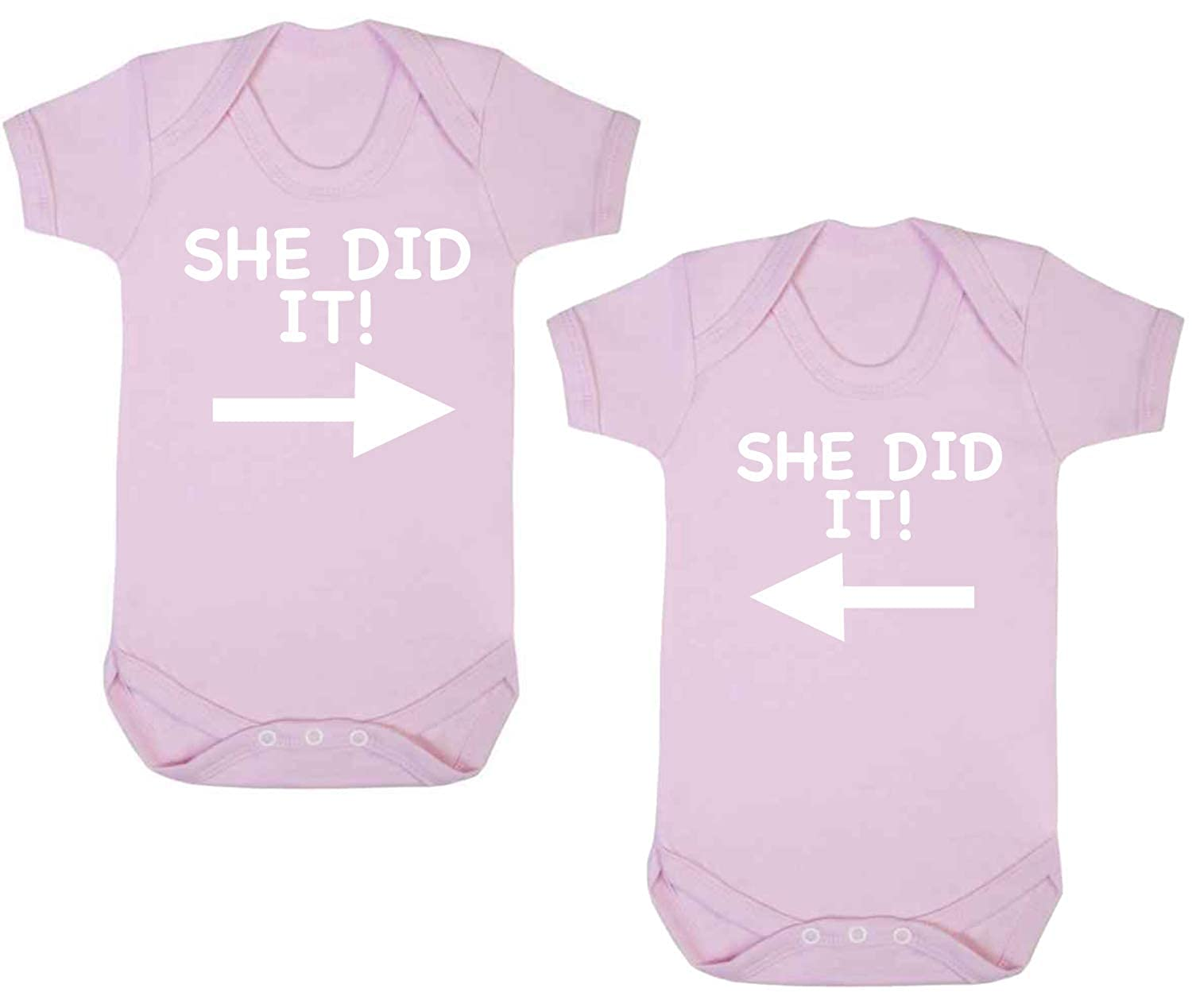 She Did it Twin Set Pack of Two Funny Baby Vest Baby Grow Bodysuit Pale Pink