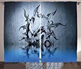 Tattoo Decor Curtains by Ambesonne, Sun with Poker Joker Face Character Fictional Evil Reflection on Water World, Living Room Bedroom Window Drapes 2 Panel Set, 108W X 90L Inches, Blue Grey