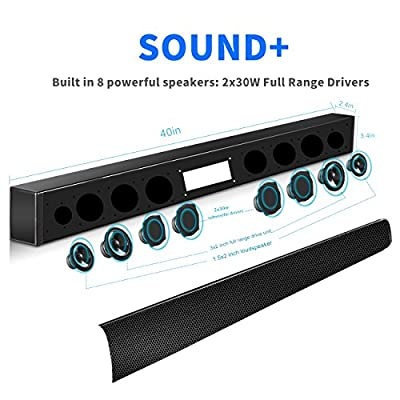 Sound Bar,Mhhdal 60 Watt TV Sound Bar Wireless Bluetooth Sound Bar Speaker with Subwoofer for TV and 8 Speakers 40inch Home Audio TV Speaker Support Optical/AUX/Coaxial(Hightest Version)