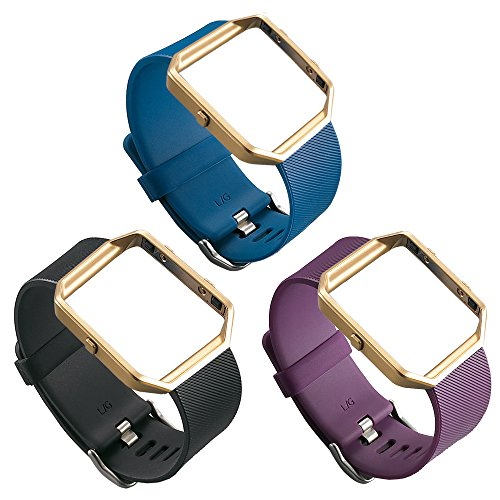 UCAI 3 Color Fitbit Blaze Bands for Women Men Replacement Accessory,Fitbit Blaze Wristbands,Large&Small Bands for Fitbit Blaze Smart Fitness Watch (No Tracker or Frame) (Black&Violet&Blue, Large) -