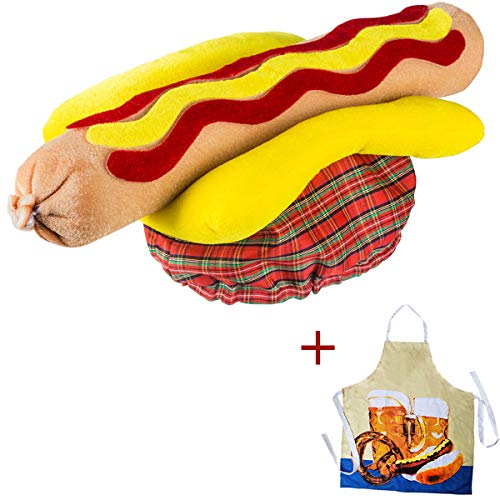 Tigerdoe Food Hats – Hot Dog Hat – Hot Dog Costume – Crazy Hats – Food Costumes – Chef Hat with Grilling Apron- 2 Pc -