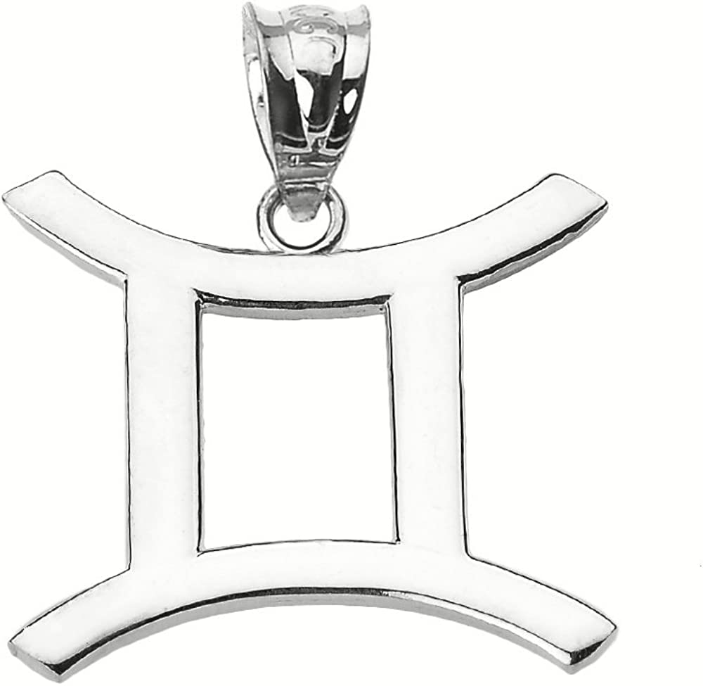 Personalized 10k White Gold Gemini Zodiac Sign Charm Pendant
