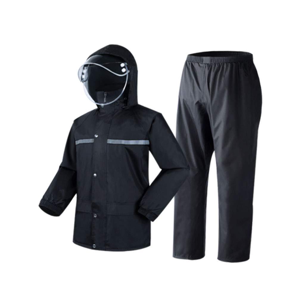 noir grand Goquik VêteHommests Imperméables Pantalon imperméable imperméable Costume Adulte imperméable Fendu pour Adultes Vestes Coupe-Pluie (Couleur   noir, Taille   L)