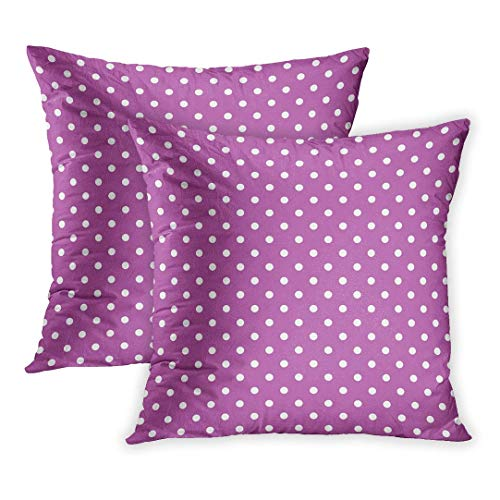 SPXUBZ Dotty Purple Polka Dot Pattern Cute Medium Sized White Spots on Orchid Seamlessly Abstract Chic Colors Pillow Cover Home Decor Nice Gift Square Indoor Pillowcase Set of 2 (Two ()