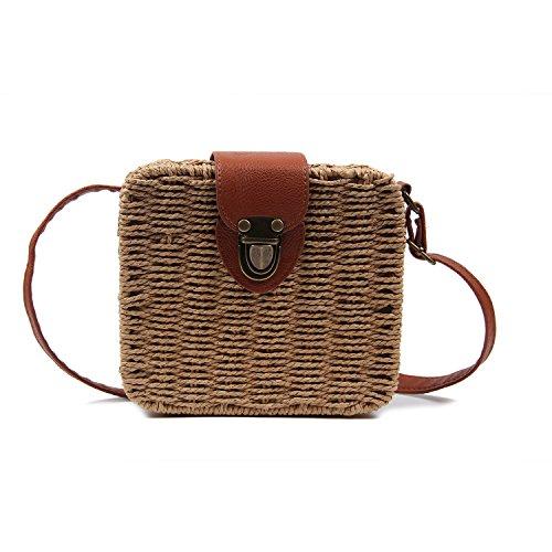 Vintage Straw Bags - Vintage Straw Woven Satchel Messenger Womens Beach Crossbody Shoulder Bag