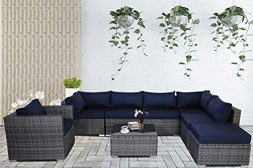 Patio Conversation Furniture Set 8-Piece Gray PE Wicker Navy Cushion Fashion Color Rattan Sofa Outdoor Seating