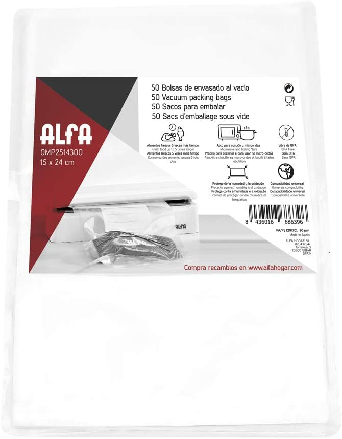 Alfa 0MP2514300 Bolsas para vacío 15 24 cm