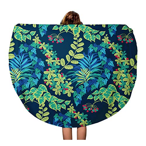 Semtomn 60 Inches Round Beach Towel Blanket Abstract Colorful Green Blue Navy Jungle Foliage Pattern Aquamarine Travel Circle Circular Towels Mat Tapestry Beach ()