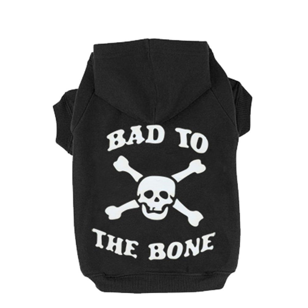 EXPAWLORER Black L BAD TO THE BONE Printed Skull Cat Fleece Sweatshirt Dog Hoodies