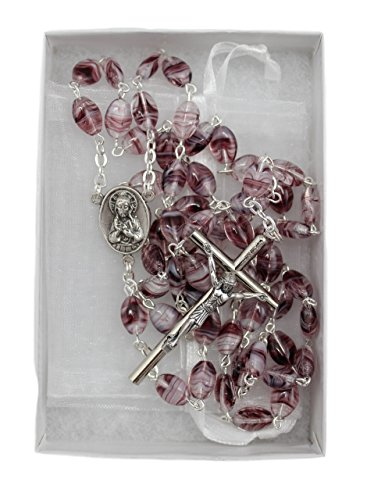 Christian Living Glass Oval Bead Italian Made 23.5-inch Rosary Amethyst Purple Color